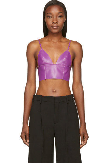 T by Alexander Wang - Purple Lether Raw-Edged Triangle Bralette