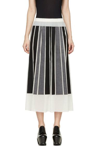 Viktor & Rolf - Ivory Silk Gorgette Black & Grey Paneled Skirt