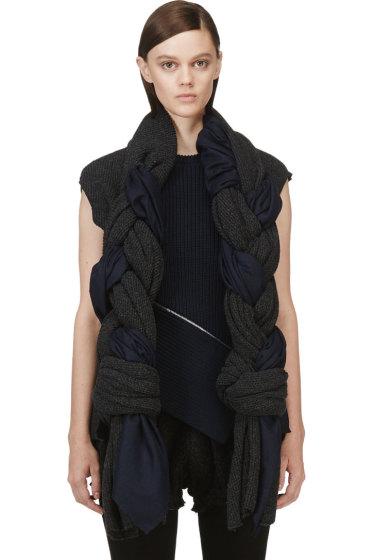 Comme des Garçons - Grey & Navy Knit Braided Scarf Vest