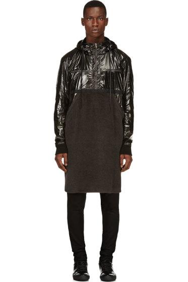 Damir Doma - Black Fleece & Nylon Runway Coat