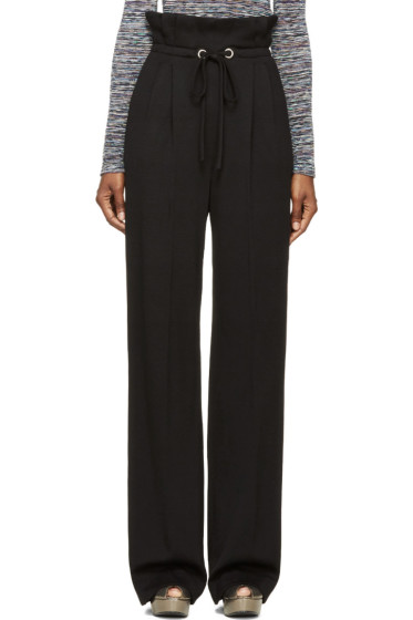 Rodarte - Black Wool Jersey Drawstring Pillar Trousers