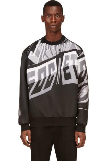 Juun.J - Black & Grey Neoprene Sign Print Sweatshirt