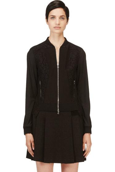 Nina Ricci - Black Lace Panelled Bomber Jacket