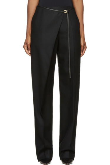Calvin Klein Collection - Black Wool & Leather Angled Aggy Trousers