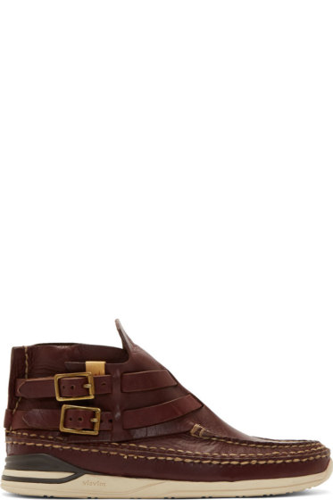 Visvim - Burgundy Leather Mesa Moc-Folk Moccasins