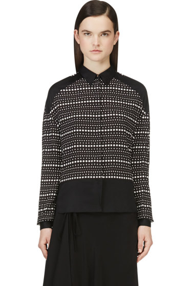 Costume National - Black & White Silk Dotted Blouse