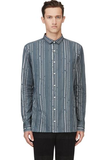 Kolor - Teal Decorative Stripe Shirt