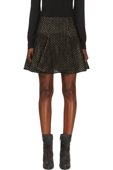 Giambattista Valli - Black Mesh & Silk Layered Clove Skirt