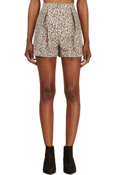 Giambattista Valli - Beige Leopard Pleated Shorts
