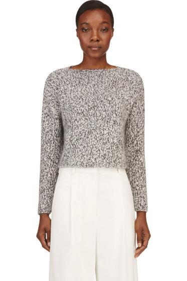 Giambattista Valli - White & Black Marled Angora Cropped Sweater