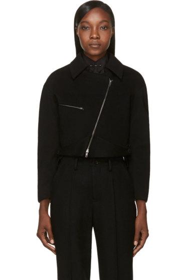 Maiyet - Black Wool Cropped Bomber Jacket