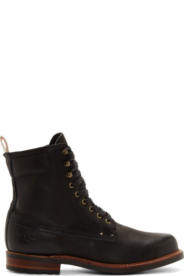 Rag & Bone - Black Pebbled Leather Officer Boots
