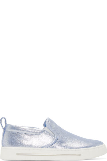 Marc by Marc Jacobs - Blue Metallic Crosta Cute Kicks Slip On Sneakers