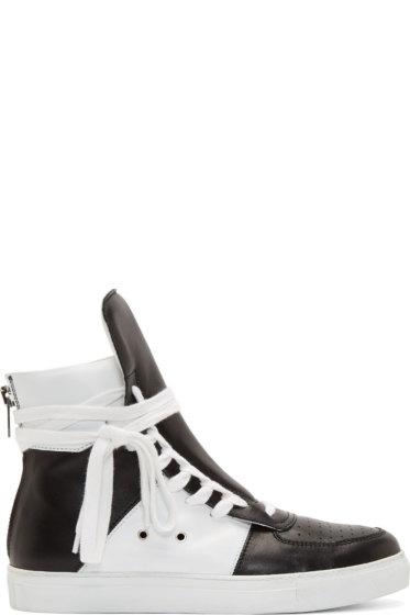 Krisvanassche - Black & White Leather High-Top Sneakers