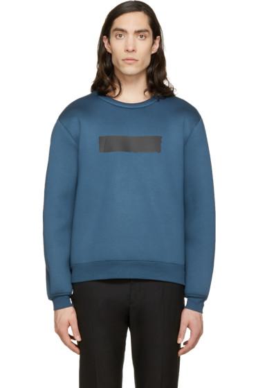 Krisvanassche - SSENSE Exclusive Blue Painted Stripe Sweatshirt