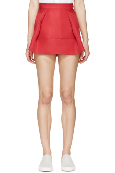 Dsquared2 - Red Silk Organza Pleated Skirt