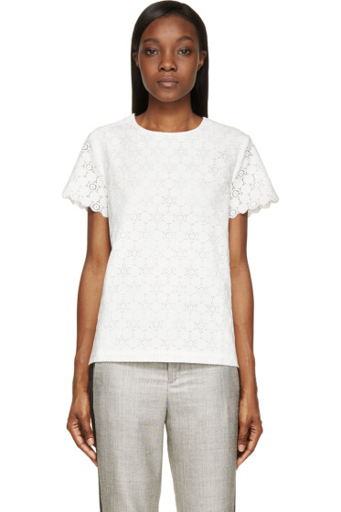 Band of Outsiders - Ivory Silk Lace Scalloped Short Sleeve T-Shirt