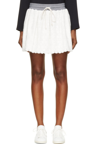 Band of Outsiders - Ivory Lace & Knit Skirt