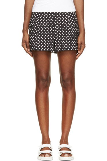 Band of Outsiders - Black & White Ink Dot Side-Zip Shorts