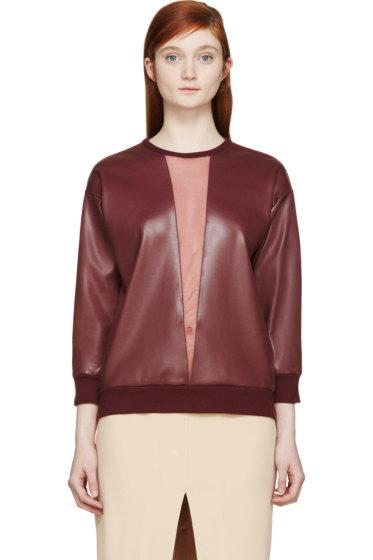 Christopher Kane - Burgundy Mesh Panel Crewneck