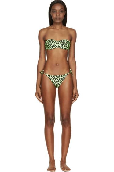 Christopher Kane - Acid Green LeopardBandeau Bikini