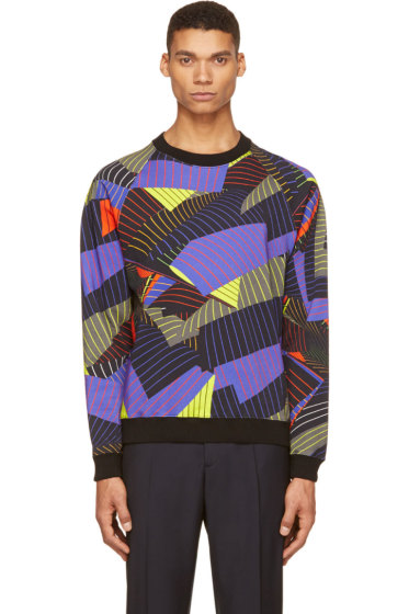 Christopher Kane - Black Pinstripe Page Print Sweatshirt