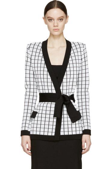 Balmain - White Knit Check Jacket