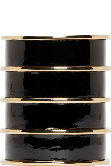Balmain - Black Leather Gold Stacked Cuff