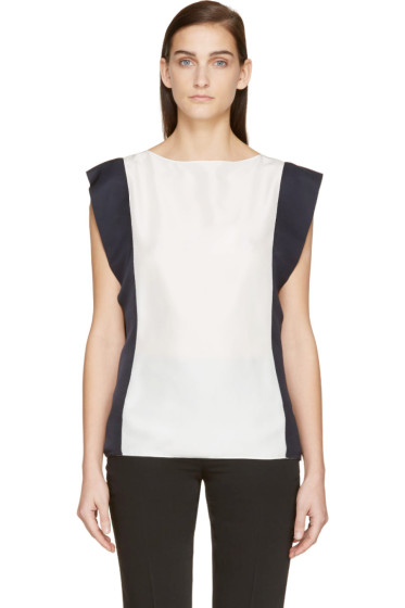 Lanvin - White & Navy Silk Blouse