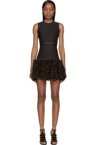 Alexander McQueen - Black Ruffled Hem Dress