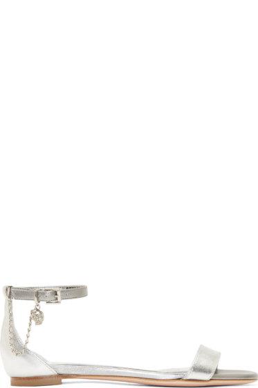 Alexander McQueen - Silver Leather Skull Chain Sandals