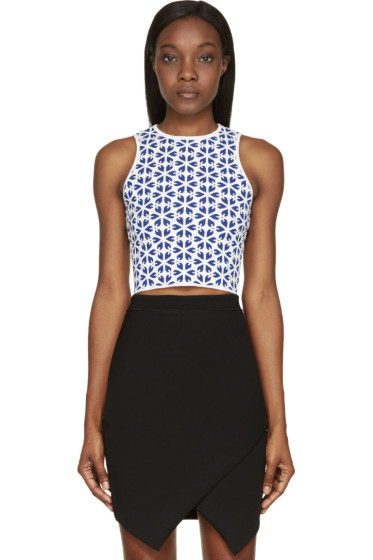 Alexander McQueen - Blue & White Floral Knit Cropped Top