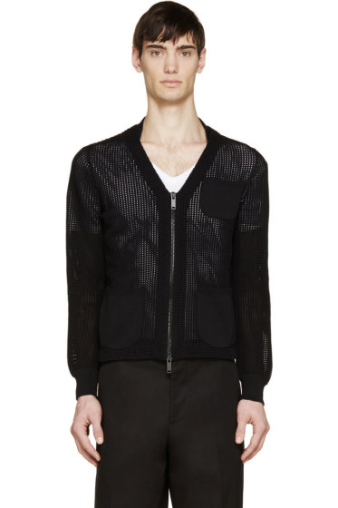 Alexander McQueen - Black Knit V-Neck Zip Cardigan
