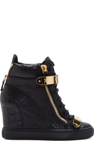 Giuseppe Zanotti - Black Leather Croc-Embossed Lorenz Wedge Sneakers