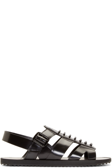Givenchy - Black Leather Tornado Sandals