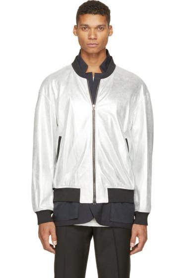 3.1 Phillip Lim - Silver Metallic Leather & Navy Blazer Double Jacket