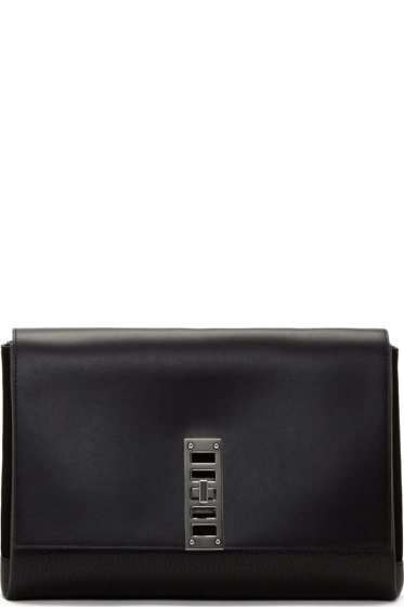Proenza Schouler - Black Grained Leather & Suede Elliot Clutch