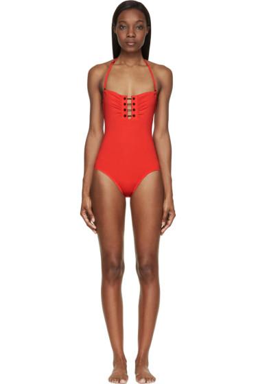 Proenza Schouler - Crimson Barbell Bandeau One-Piece Swimsuit