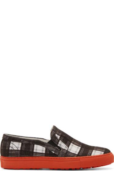 Carven - Black & White Plaid Slip-On Sneakers
