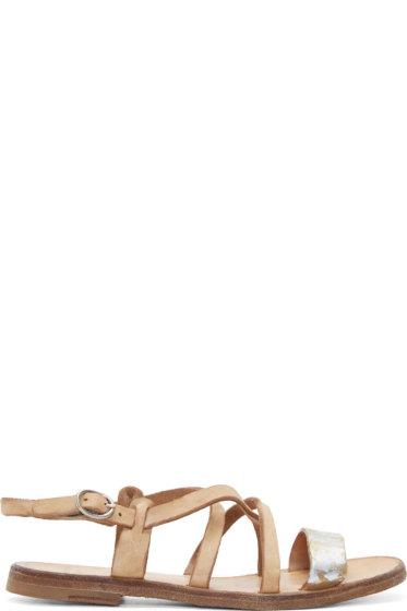 Officine Creative - Brown Metallic Accent Sandals