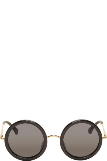 The Row - Black Signature Round Sunglasses