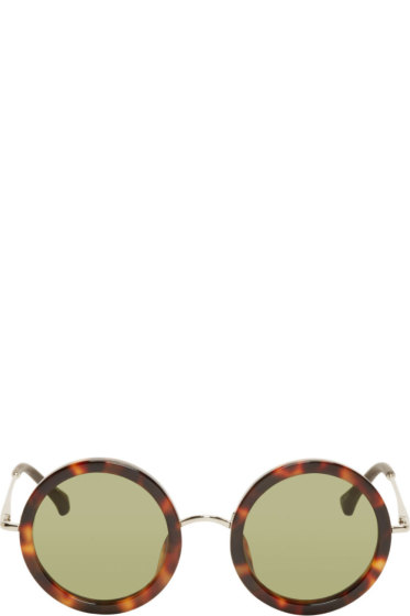 The Row - Brown Tortoiseshell Signature Round Sunglasses