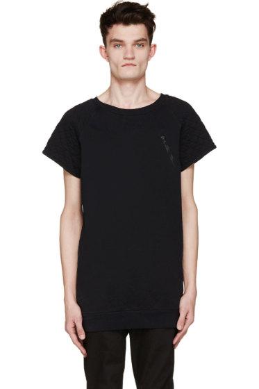 Pierre Balmain - Navy Jersey Quilted T-Shirt