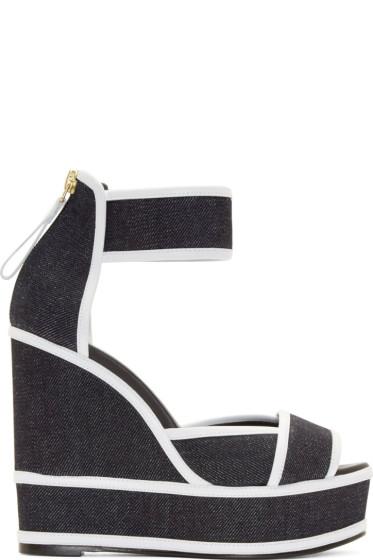 Pierre Hardy - Navy Denim Wedge Sandals