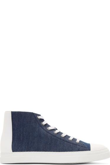 Pierre Hardy - Indigo Denim High-Top Sneakers