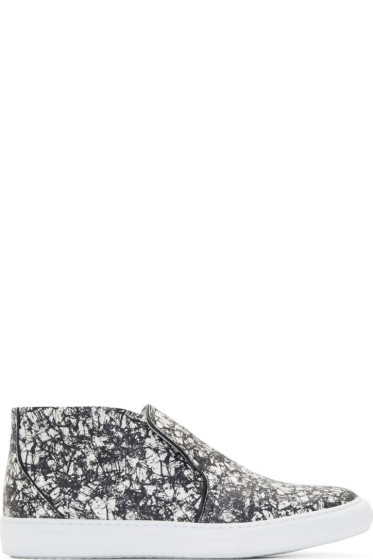 Pierre Hardy - Black & White Snakeskin Slip-On Sneakers