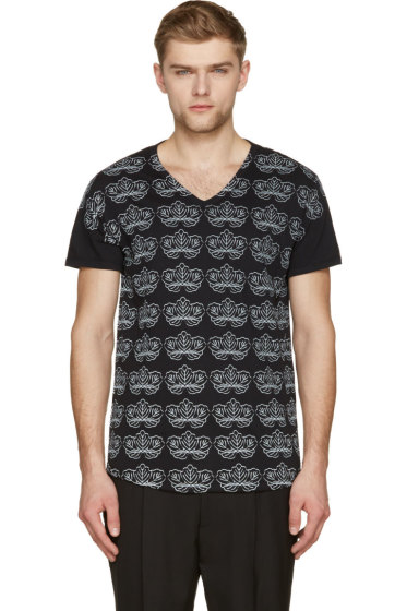 Ann Demeulemeester - Black & Pale Grey Floral Print V-Neck T-Shirt