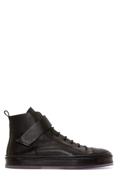 Ann Demeulemeester - Black Leather Strapped High-Tops