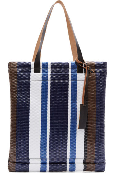 Marni - Naby & White Stripe Woven Straw Tote Bag