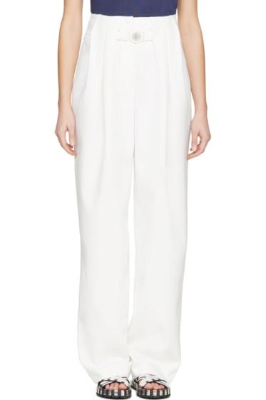 Kenzo - White Crêpe High-Waisted Wide Leg Trousers